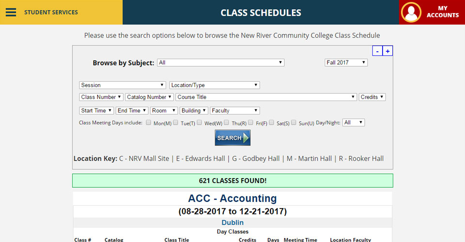 Class Schedules New River Community College Dublin, Virginia 11