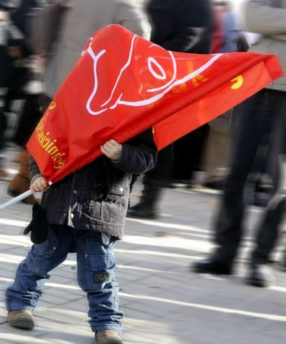 ERIC POLLET drapeau cgt manifestation austerite