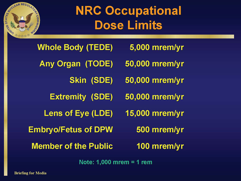 NRC Information for Radiation Workers