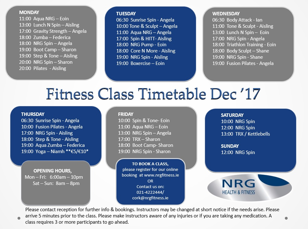 Cork Fitness Class timetable - Gym - NRG - Cork - Galway - Leisure - class timetable