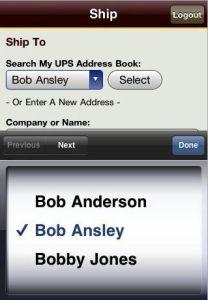 Ship from UPS.com Address book