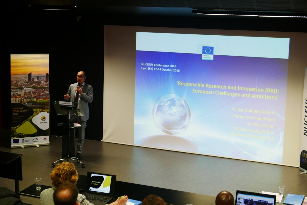 Keynote speaker Philippe Galiay discusses the European political context for Responsible Research and Innovation (RRI)