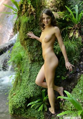 nude couple waterfall