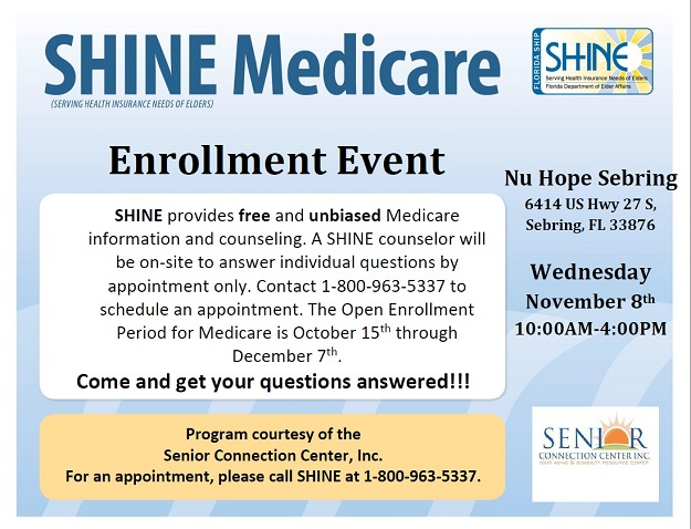 SHINE offers Medicare open enrollment counseling