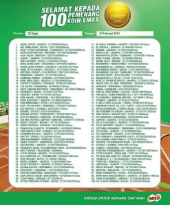 100 Pemenang Koin Emas Milo (Tahap 3)
