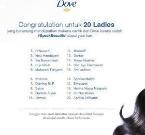 80 Pemenang Mukena Cantik (Speak Beautiful With Dove)