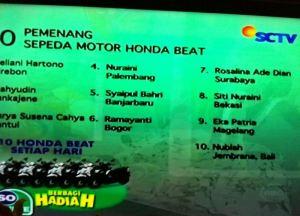 10 Pemenang Honda Beat Undian So Nice (15 September 2015)
