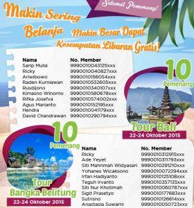 20 Pemenang Tour Bali & Bangka Belitung - Alfamart (Point Visit Member)