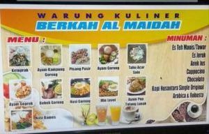 Warung Kuliner Berkah Al Maidah : Menu Berkah Harga Meriah