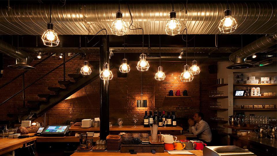 3d Shelf Wallpaper Workshop Coffee Clerkenwell Nulty Lighting Design