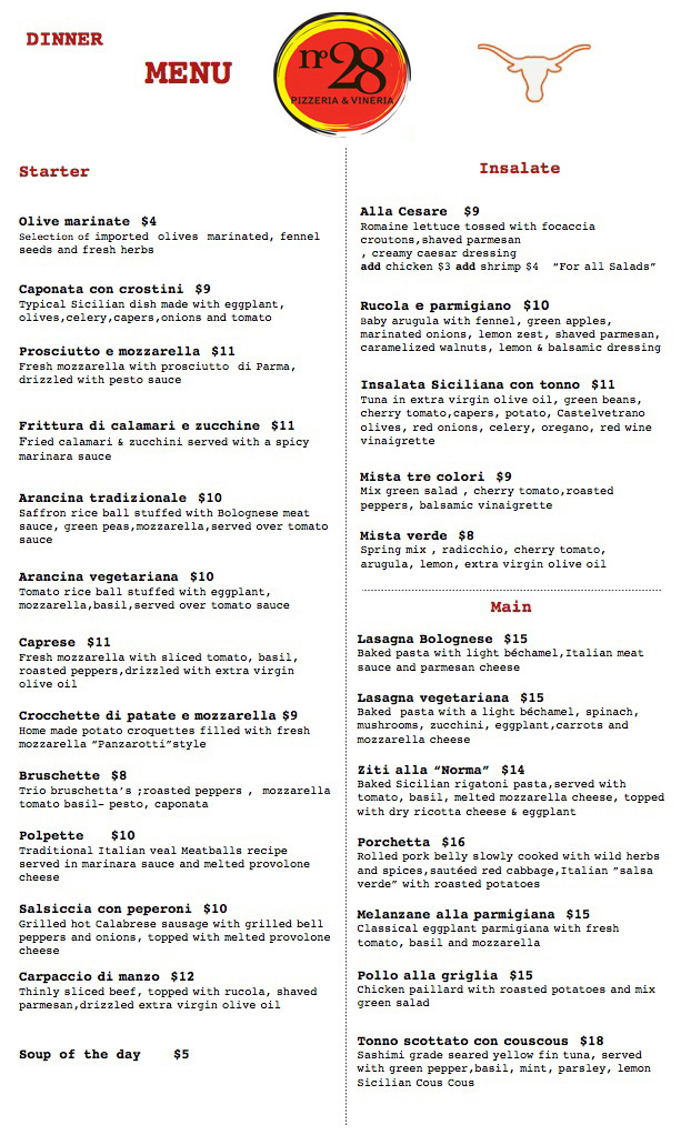 Dinner Menu numero28austin - menu