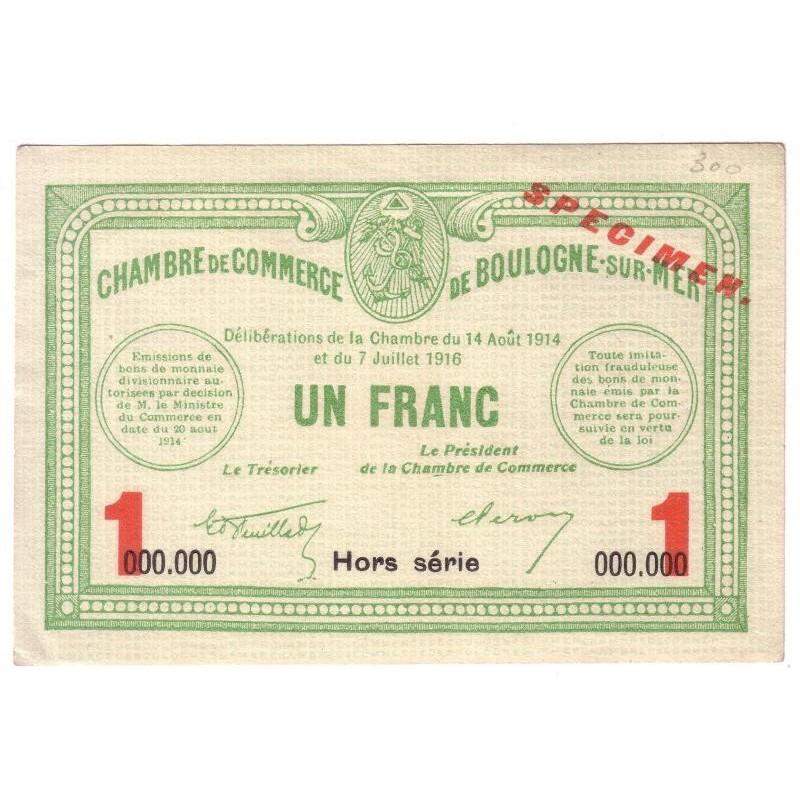 62160 - BOULOGNE SUR MER - 1 FRANC - 14081914 - NEUF