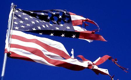 Tattered usa Flag