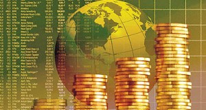 Coins, globe and share prices
