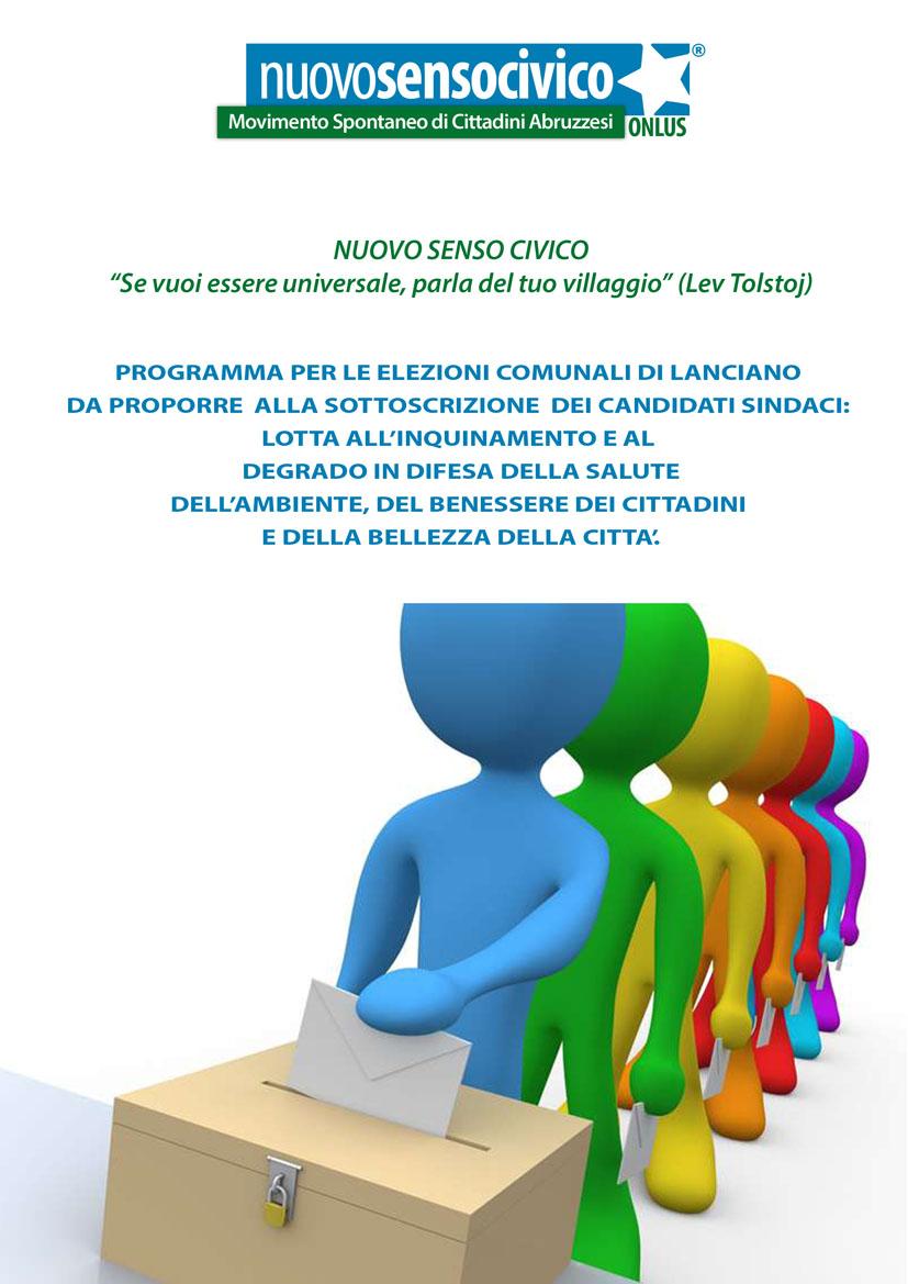ELEZIONI COMUNALI DI LANCIANO: ECCO IL PROGRAMMA DI NUOVO SENSO CIVICO PROPOSTO AI CANDIDATI SINDACO.