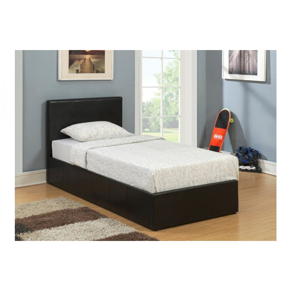 Lyon Ottoman Single Bed Frame Faux Leather Brown