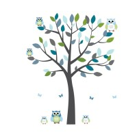 Gray and Blue Owl Stickers With Large Tree Decal For Kids