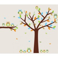 Blue and Orange Owl Decals With Tree Wall Stickers For Boys