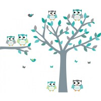 Teal Owl Wall Decals With Tree Decals For Boys Bedrooms