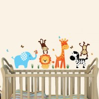 Colorful Jungle Tree Wall Decals With Giraffe Wall ...