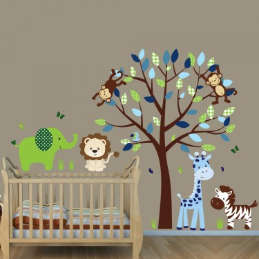 Animal Bedroom Wallpaper Green Amp Blue Jungle Animal Wall Decals With Elephant Wall