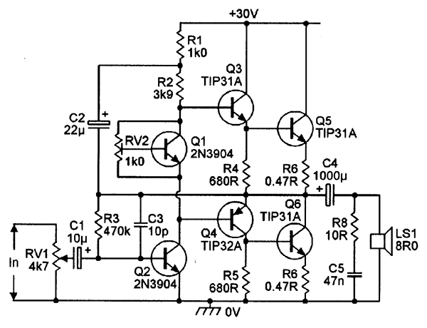 20 watt audio amplifier circuit