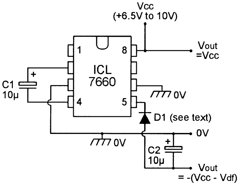 icl7660 dc to dc converter from 5v to 5v