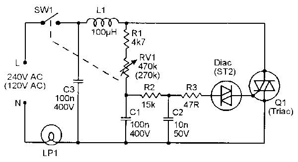 ac lights dimmer with triac