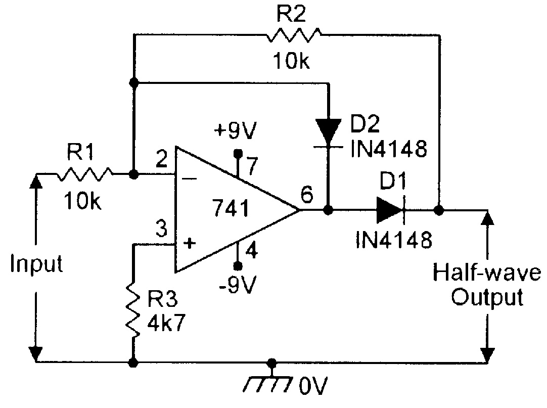 basic full wave rectifier using op amp 1st portion of this circuit