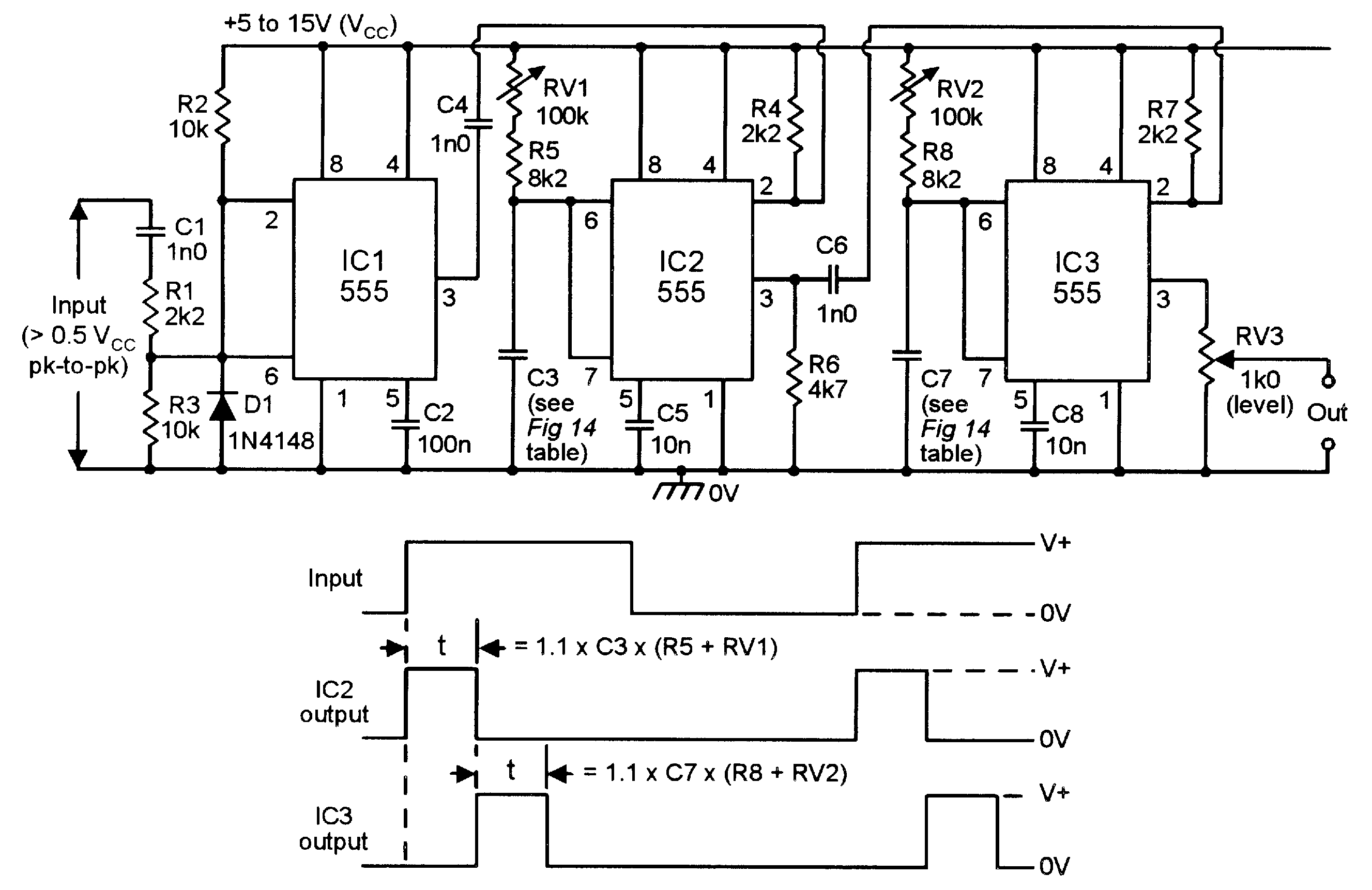 noise generator 2 frequency with ic 555
