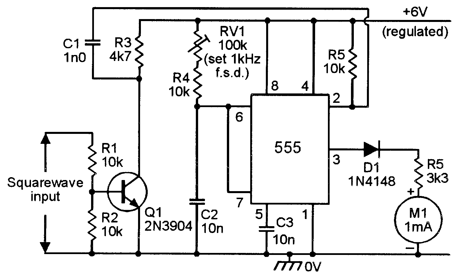 linear integrated circuit frequency generator
