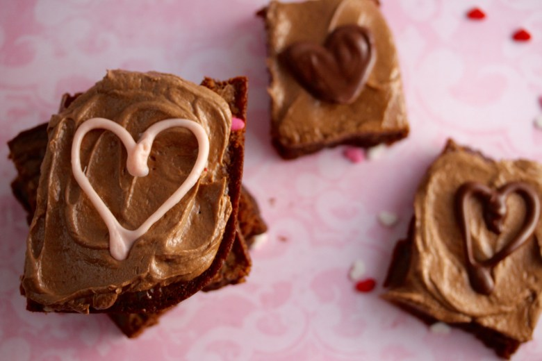Nutella Brownies with Chocolate Hearts