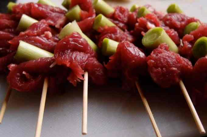 Japanese Style Leek And Beef Skewers