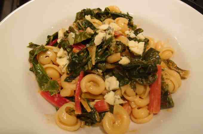 Pasta with Rainbow Chard and Stilton Cream Sauce