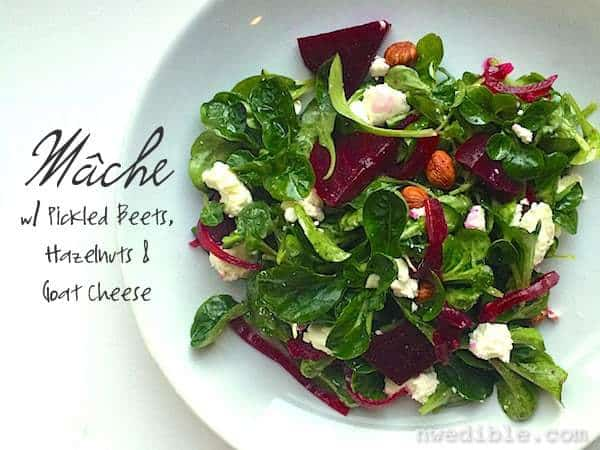 Mache Salad with Pickled Beets and Goat Cheese