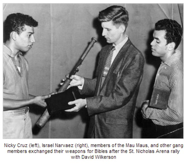 Nicky Cruz, war leader of the Mau Maus, exchanged a baseball bat for a Bible from pastor David Wilerson