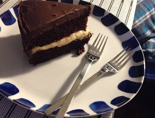 Classic Chocolate Cake with Custard Filling—a combination of three recipes.
