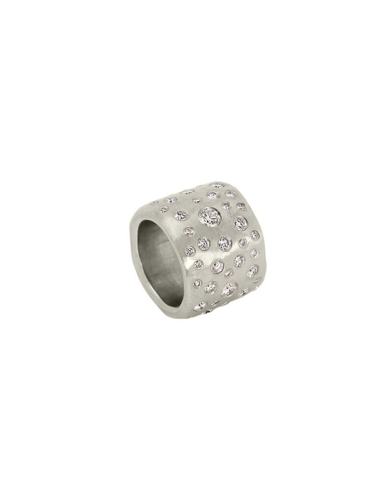 White Gold and Diamond Cobblestone Band Ring