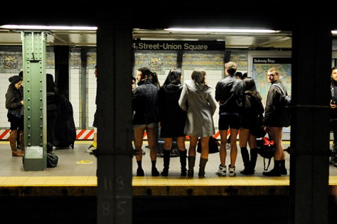 Straphangers strip off pants for day of travel