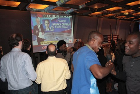 Students celebrate Obama's victory at Election Party