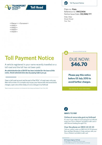 Toll payment and infringement notices NZ Transport Agency