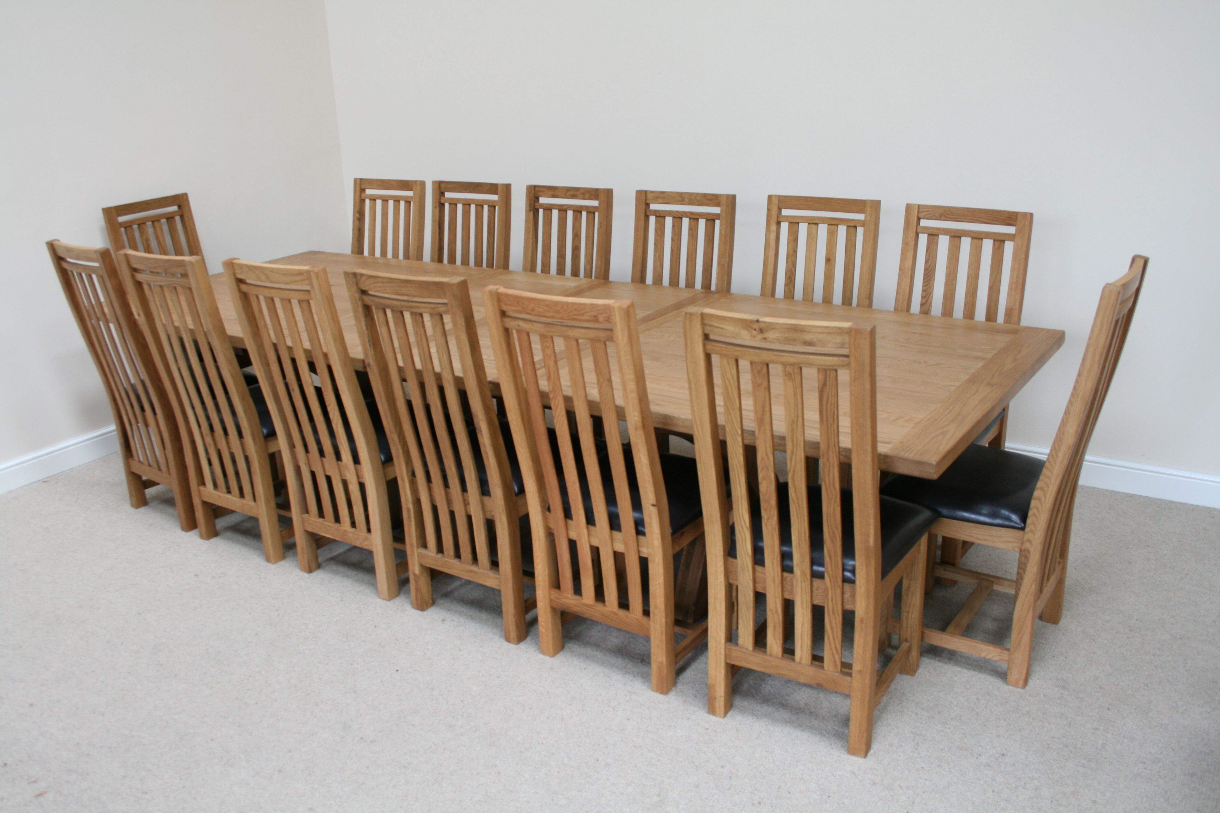 Country Oak large 12 14 seater extending oak dining table 6