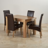 Chunky Solid Oak Dining Set in Oak: 4ft Table + 4 Chairs