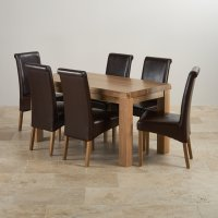 Contemporary Dining Set in Oak: Table + 6 Brown Leather Chairs