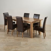 Contemporary Dining Set in Natural Oak - 6ft Table + 6 Chairs