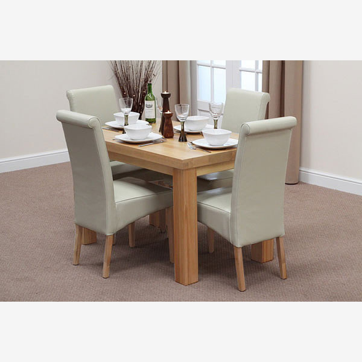 Fresco 4ft Solid Oak Dining Table 4 Cream Leather Scroll