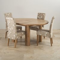 Knightsbridge Oak Dining Set - Round Extending Table + 4 ...