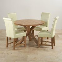 Natural Oak Round Dining Set: Table + 4 Cream Leather Chairs
