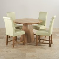 Provence Dining Set in Real Oak: Table + 4 Leather Cream ...