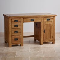 Original Rustic Computer Desk in Solid Oak | Oak Furniture ...